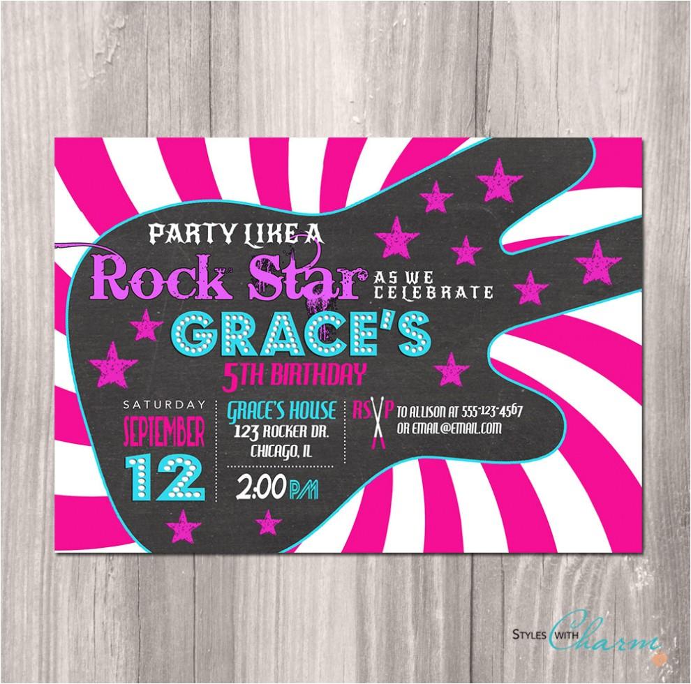 rockstar invitation custom invitation template designderrick rock star birthday invitations