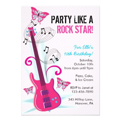 rock star guitar hero birthday party invitations 161519105384844132