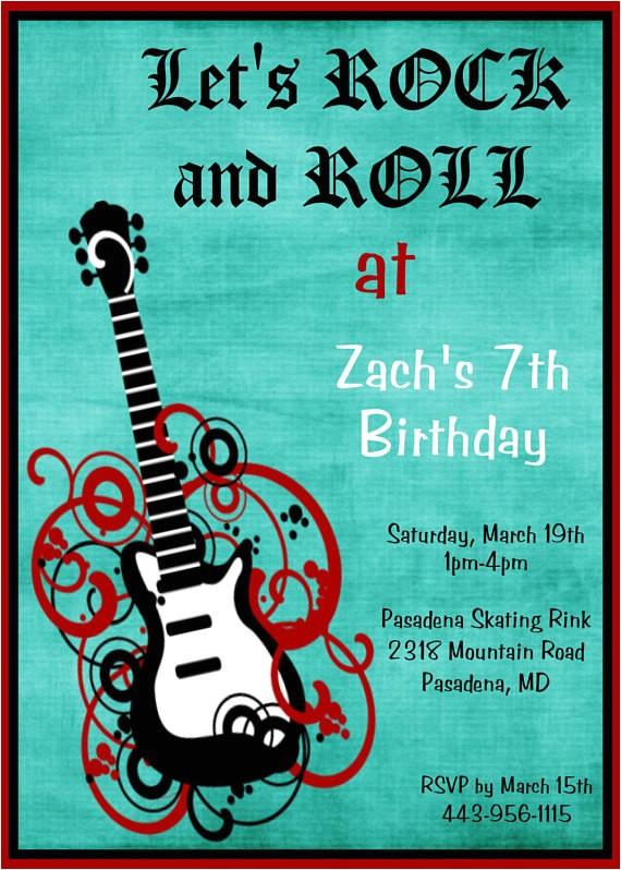 rockstar birthday invitation rock star