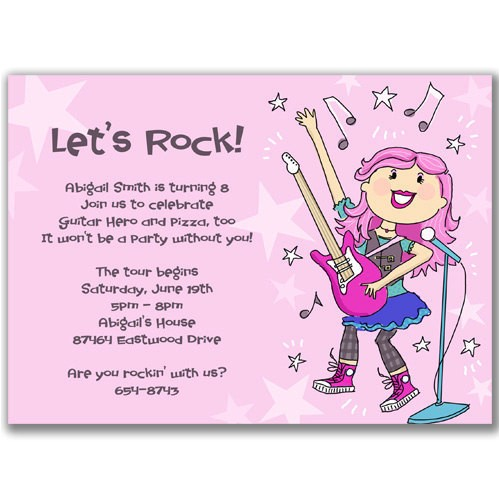 rock star girl invitations for a kids