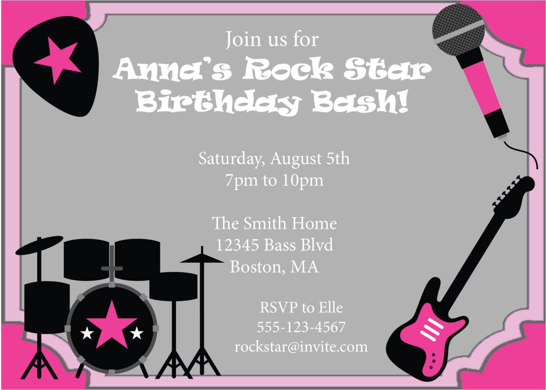 rock star party invitation birthday