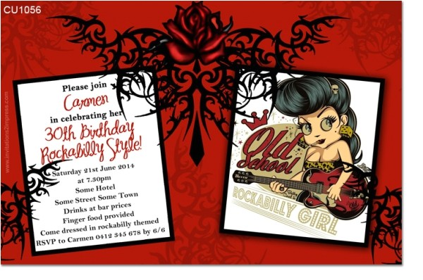 cu1056 rockabilly birthday invitation