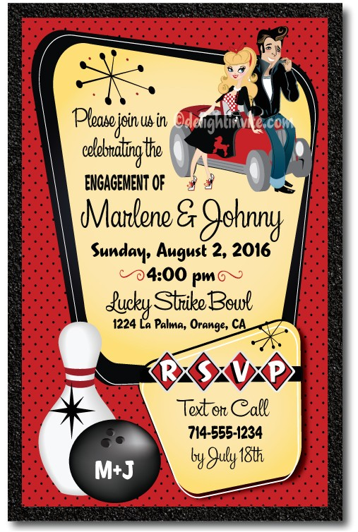 rockabilly 1950s retro bowling engagement party invitations p 4134
