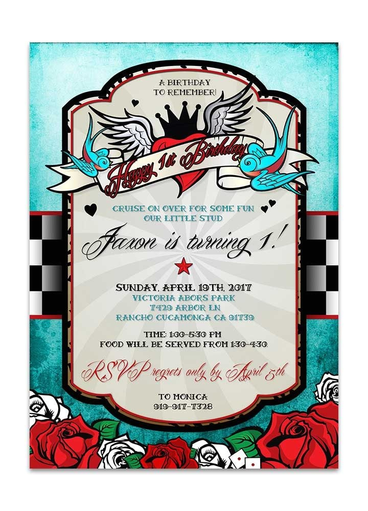 rockabilly birthday invitation checkered