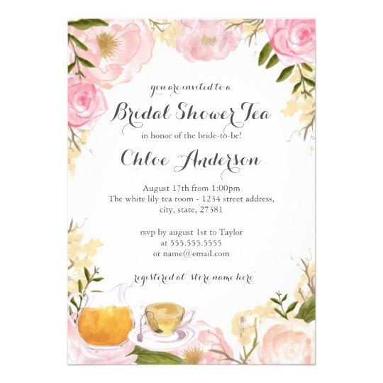 pink rose teacup bridal shower invitation