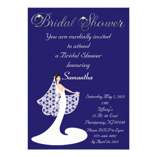 bridal shower invitations in royal blue