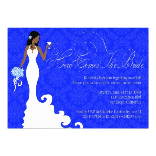 chic royal blue silver damask here comes the bride invitation 161407050370049881