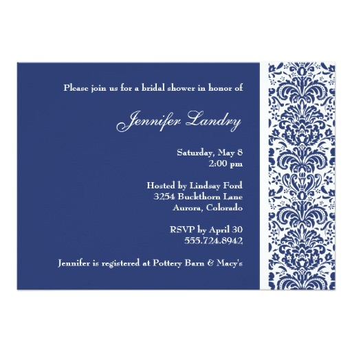 royal blue damask bridal shower invitation 161129911351764604
