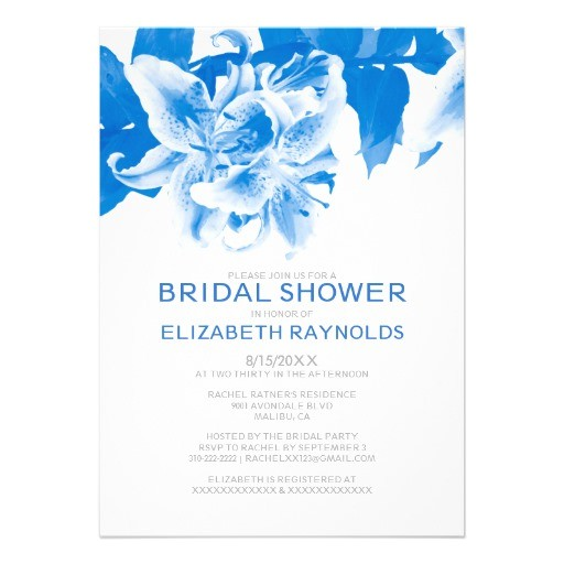royal blue flower bridal shower invitations 161064410561947922