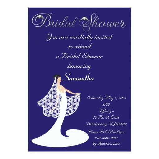 Royal Blue Bridal Shower Invitations Royal Blue White Bride Bridal Shower Invitation Zazzle