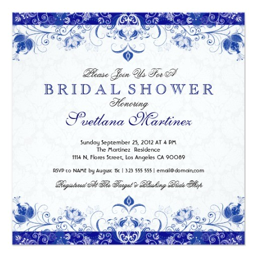 royal blue white damask bridal shower invitation 161105269978703450