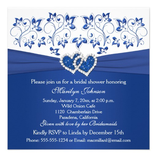 royal blue white floral hearts bridal shower invitation 161791396977779042