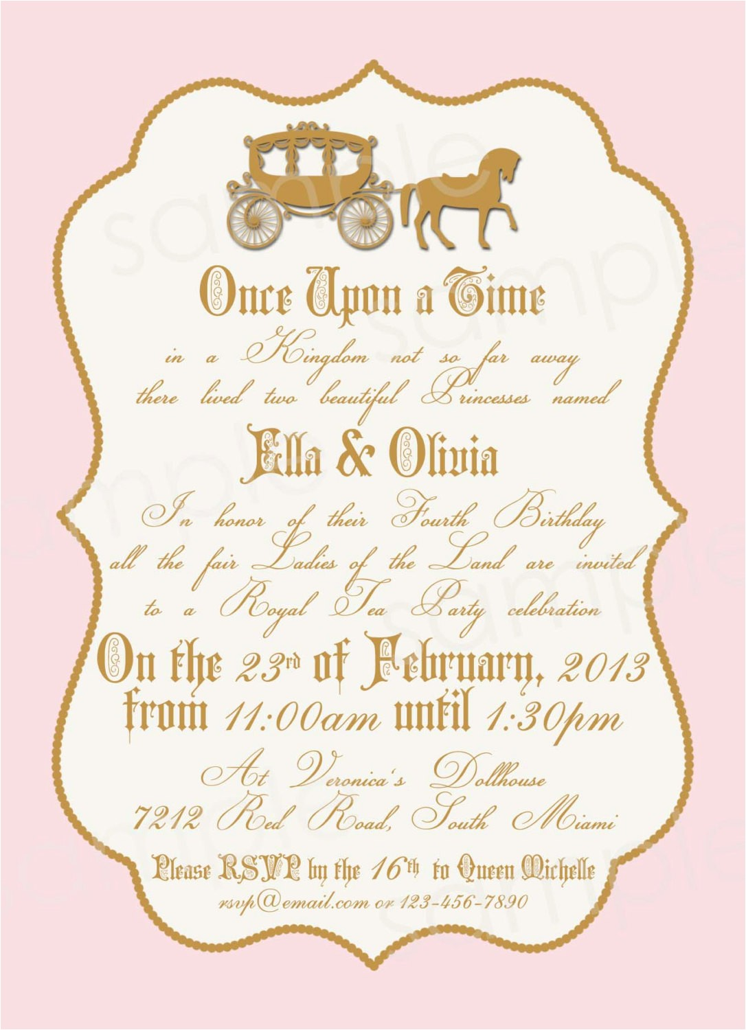 royal princess birthday party invitation