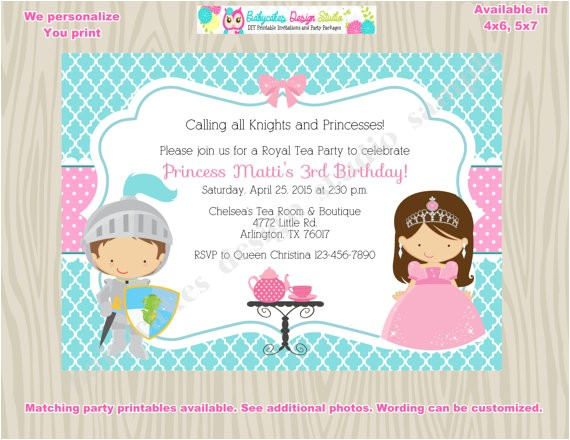 royal tea party birthday invitation