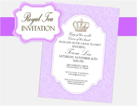 royal tea party invitation girls