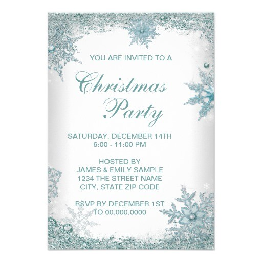 elegant teal blue snowflake christmas party rsvp invitation
