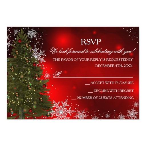 """Rsvp Christmas Party Invitation Festive Sparkle Xmas Tree Christmas Party Rsvp 3 5"""" X 5"""
