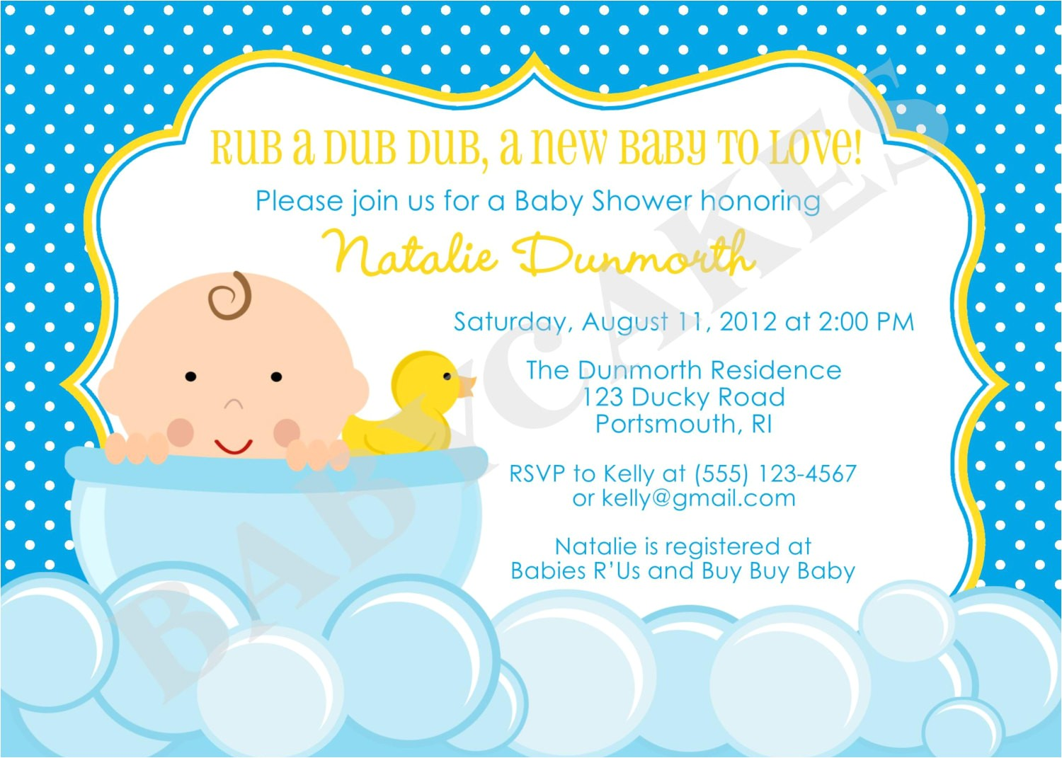 rubber ducky baby shower invitation diy