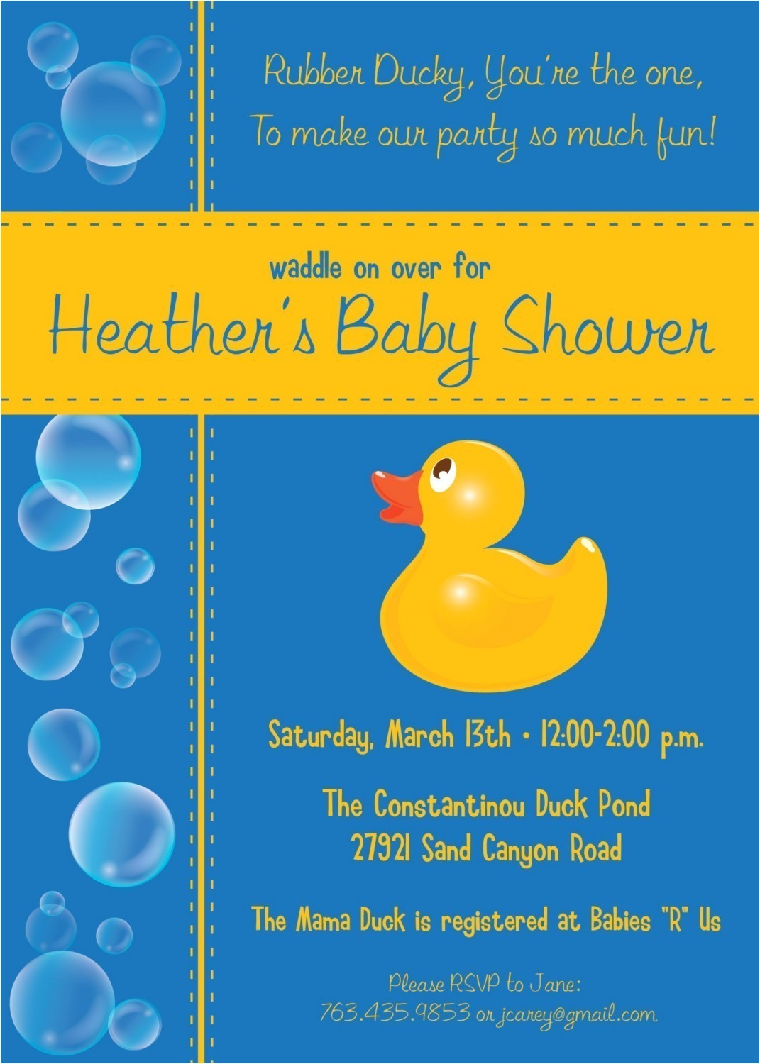 free rubber ducky baby shower invitations template