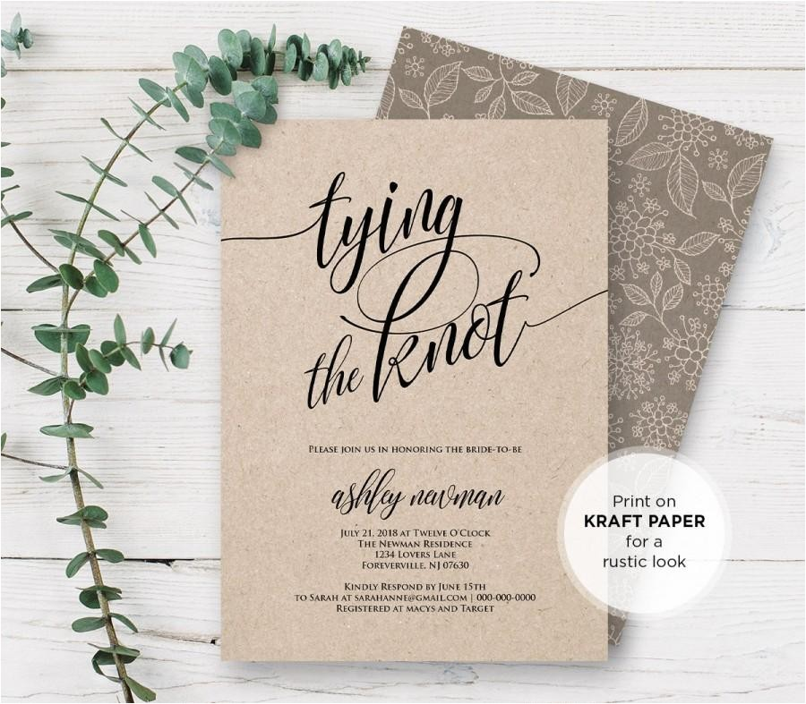 rustic bridal shower invitation templates