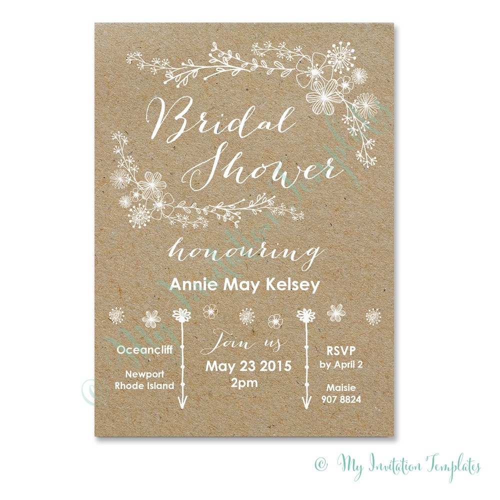 whimsical rustic bridal shower invitation template