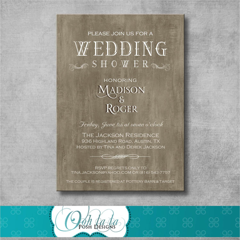 rustic elegant wedding shower invitation