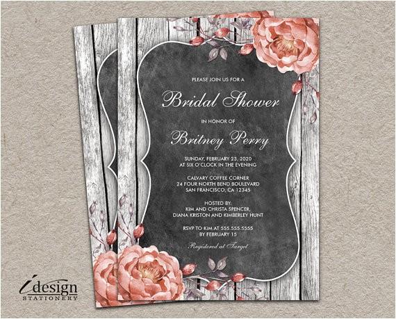 rustic vintage bridal shower invitation