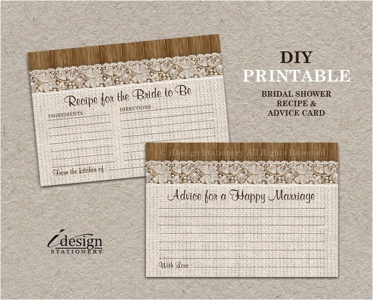 bridal shower invitations with recipe and advice c