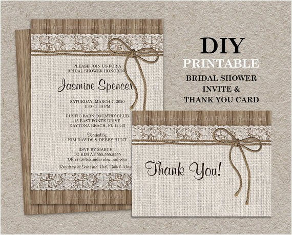 rustic bridal shower invitation set with