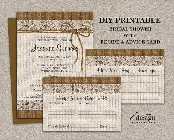 rustic bridal shower invitations with matching recipe cards