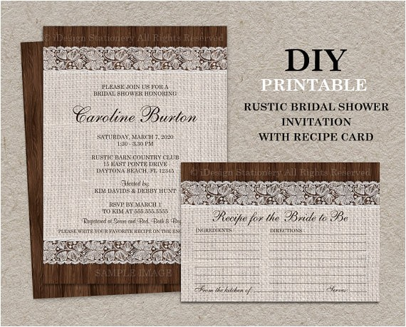 rustic bridal shower invitation with