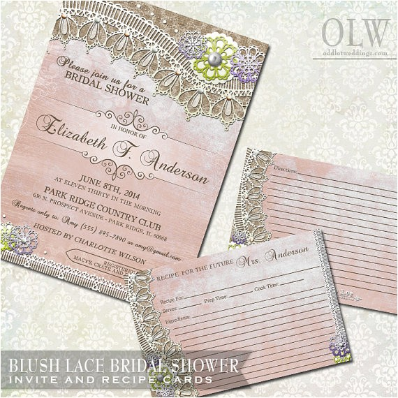 rustic bridal shower invitations recipe cards