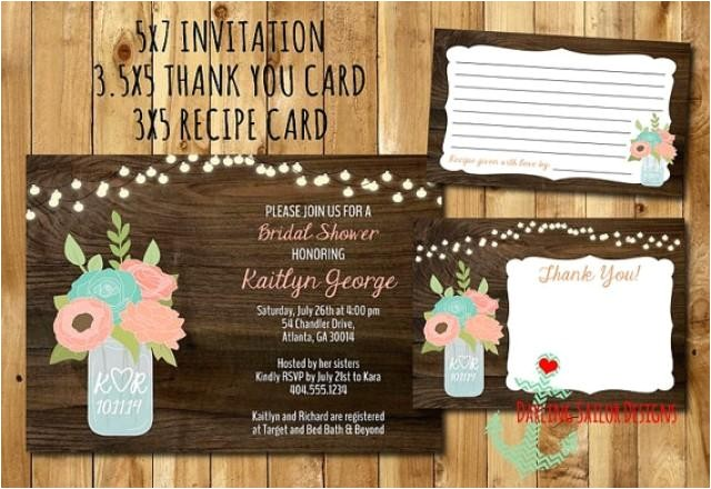 rustic mason jar bridal shower invitation recipe card thank you card you pick colors bridal shower invitation mason jar flower