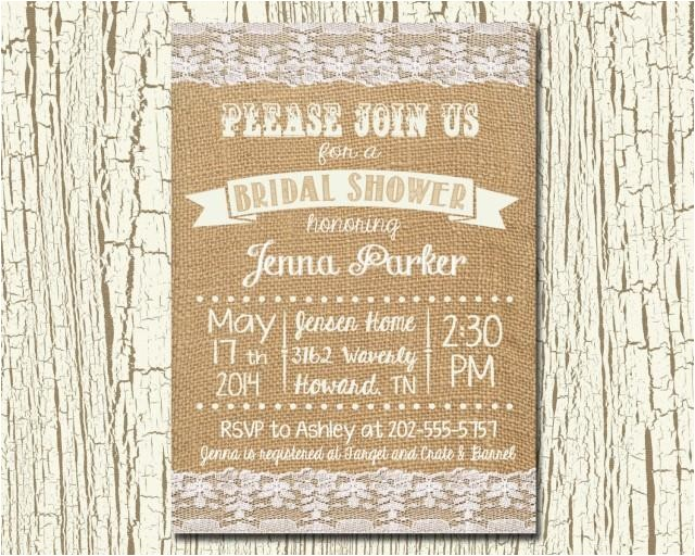 rustic wedding bridal shower invitation and matching recipe card burlap or linen 4x6 or 5x7 printable digital invitation jpeg format