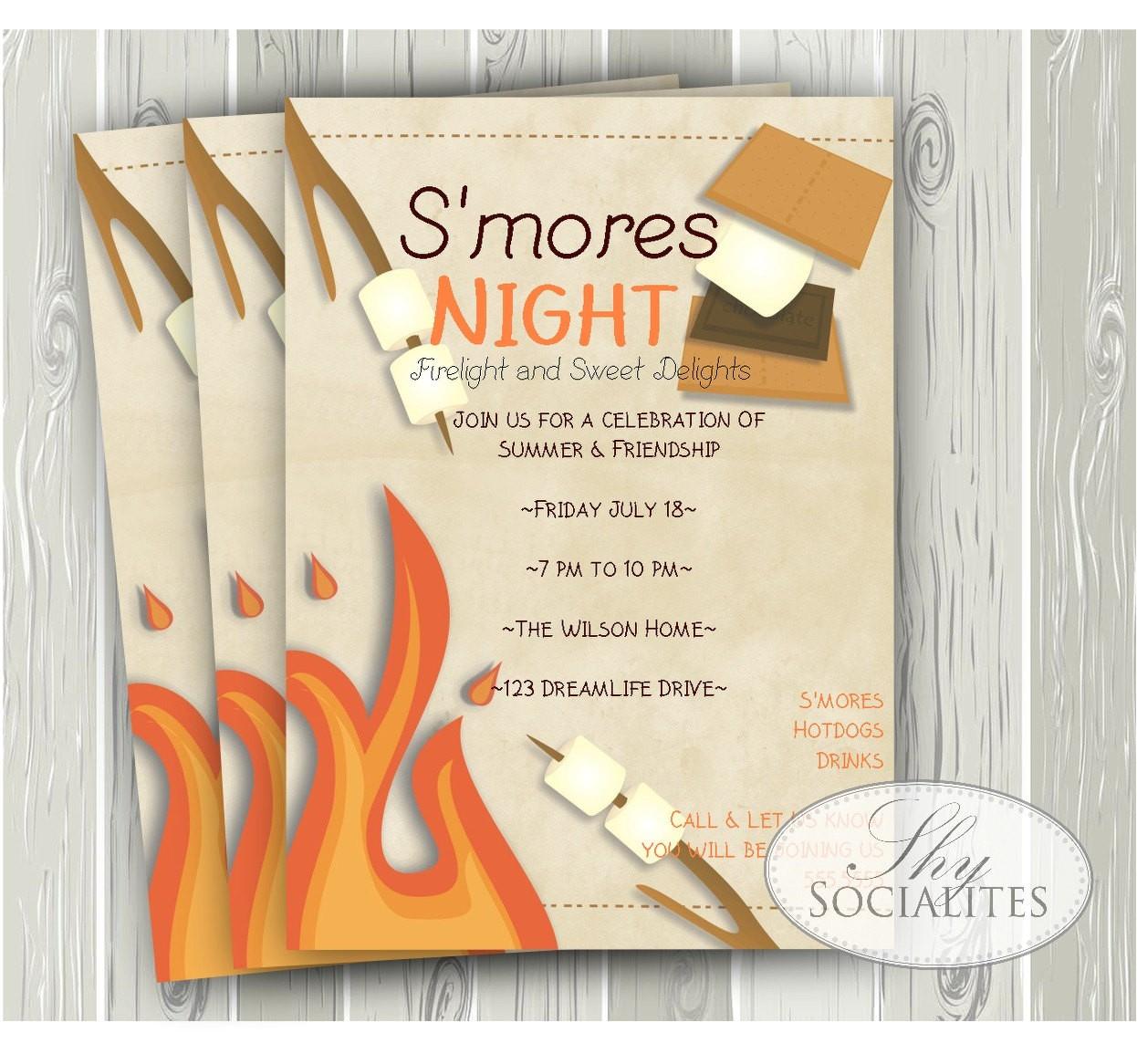 smores invitation smores camping