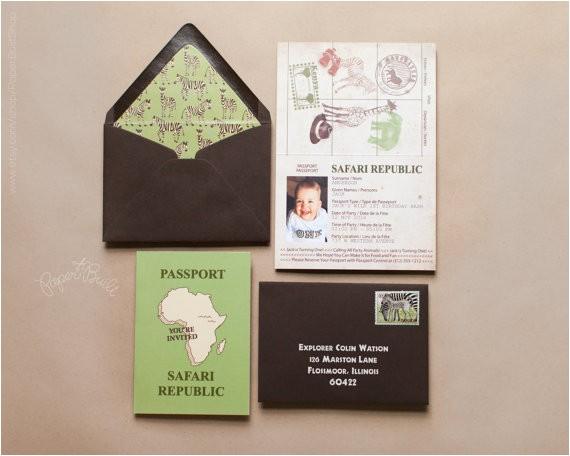 safari party passport invitation safari birthday