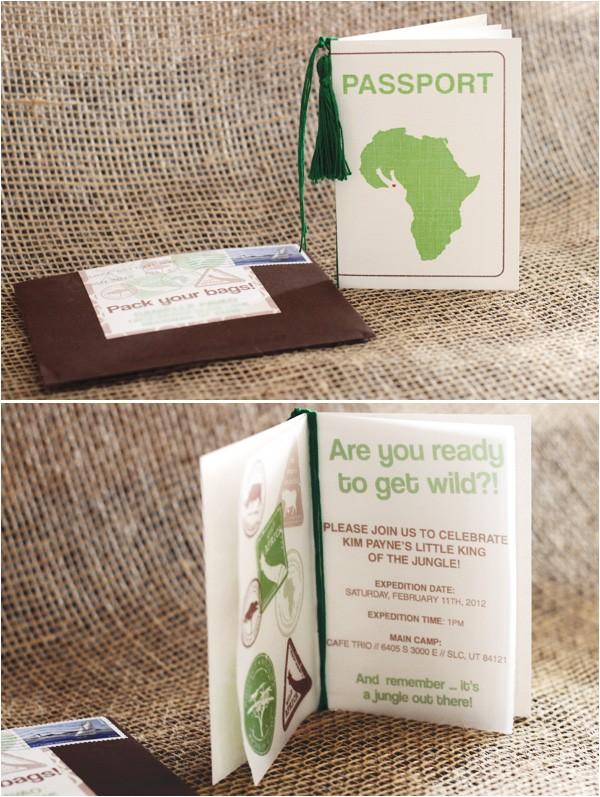 Safari Passport Baby Shower Invitations Wild Jungle Safari themed Baby Shower Hostess with