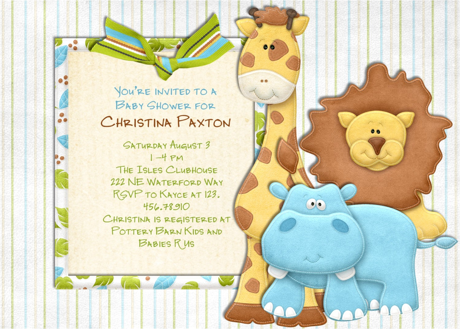 jungle baby shower invitations template