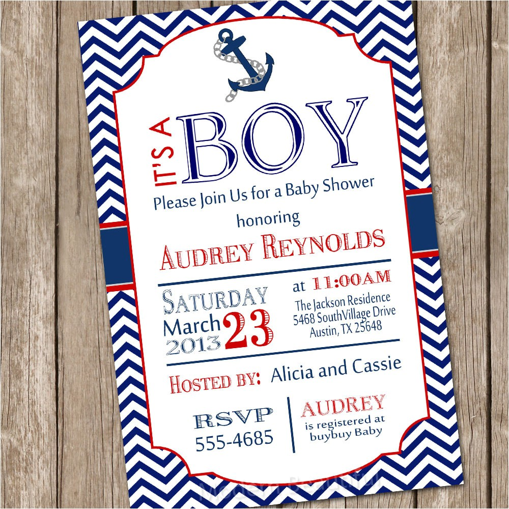 chevron nautical baby shower invitation