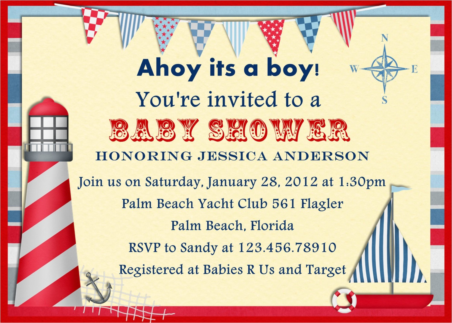 nautical themed baby shower invitations