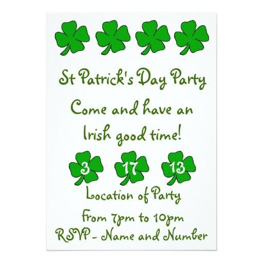 st patricks day party invitation customizable 161789064501497777