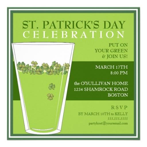 Saint Patrick S Day Party Invitations St Patricks Day Celebration Party Pint Invitation 5 25