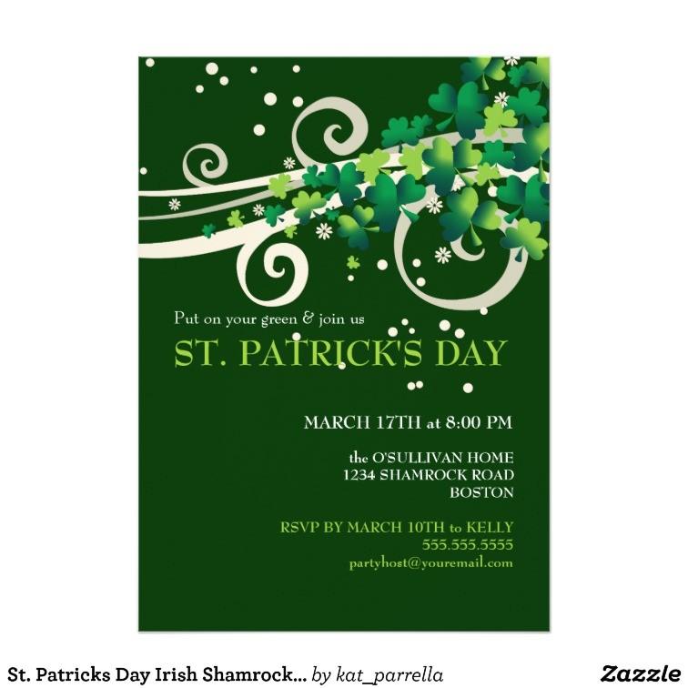 st patricks day irish shamrock party invitation 161195796724079338