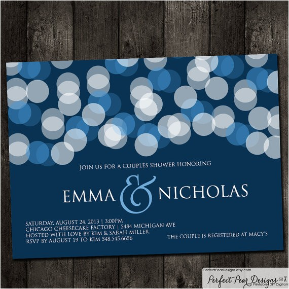 couples wedding shower invitation navy