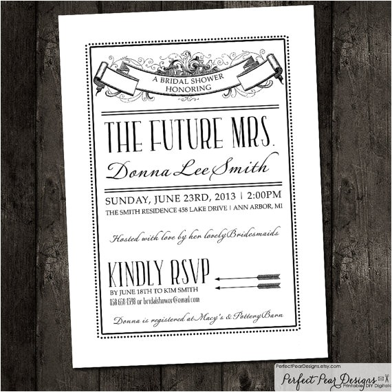 bridal shower invitation vintage poster