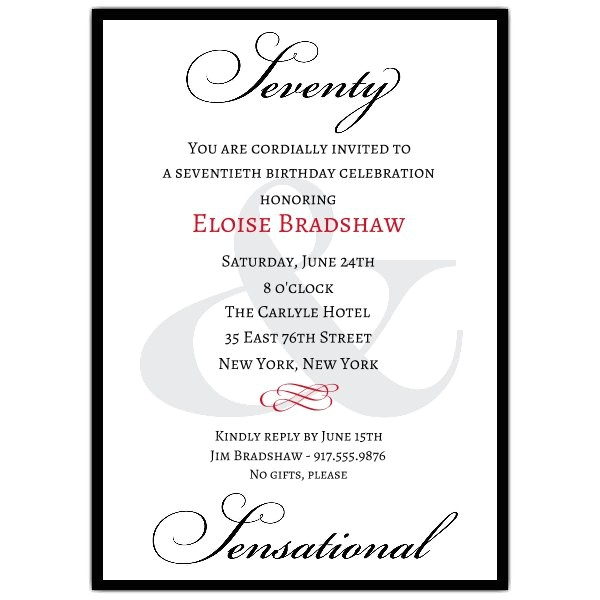 Sample 70th Birthday Invitation Wording Classic 70th Birthday Milestone Invitations