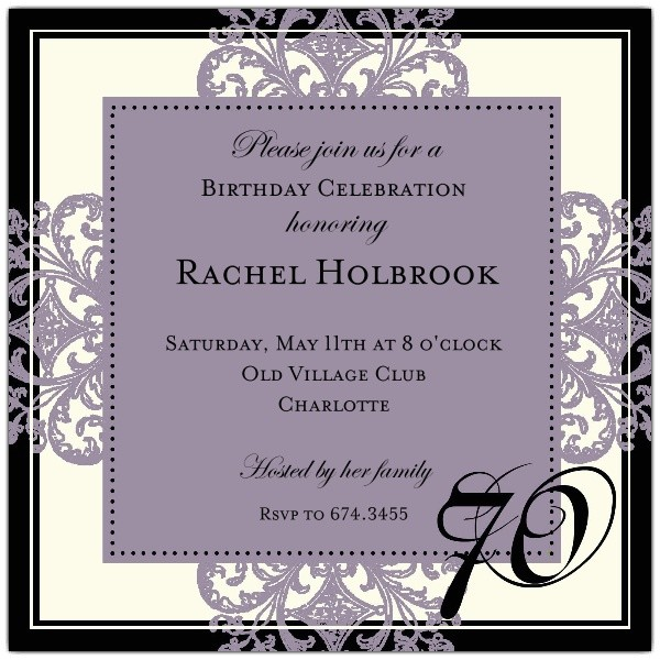 Decorative Square Border Eggplant 70th Birthday Invitations p 603 55 672 70