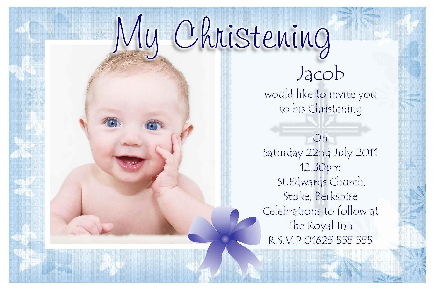 Sample Baptismal Invitation Card Baptism Invitation Baptism Invitations for Boys New