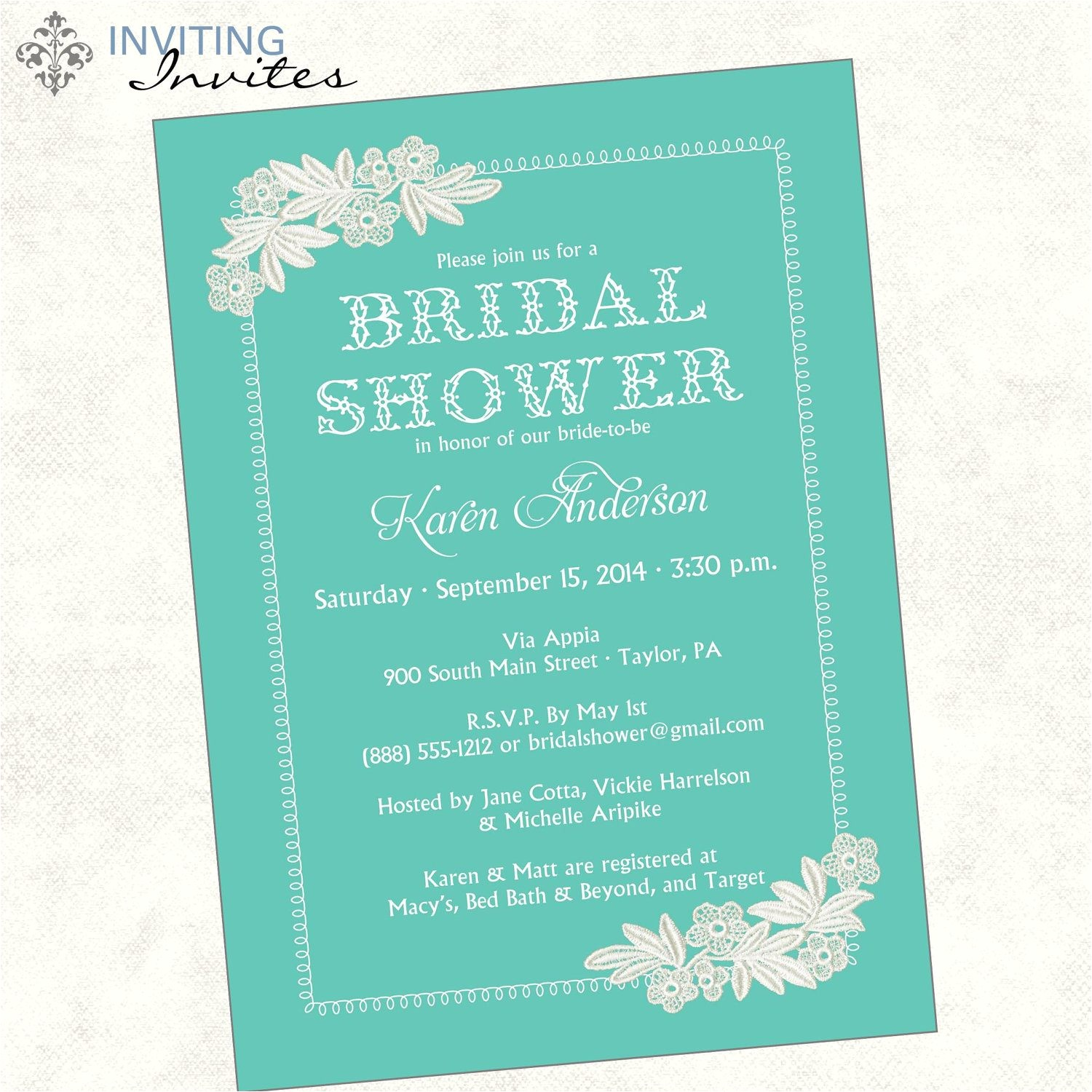 bridal shower invite wording