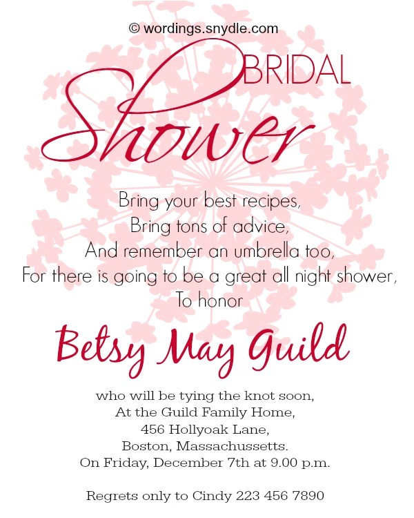 bridal shower invitation wordings